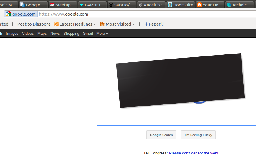 Google blacks out to protest PIPA and SOPA